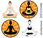 girl engaged in meditation and... | Shutterstock .eps vector #1051151048
