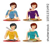 beautiful girl eats a delicious ... | Shutterstock .eps vector #1051151492