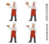 chef keeps a dish of food.set... | Shutterstock .eps vector #1051153538