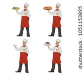chef keeps a dish of food.set... | Shutterstock .eps vector #1051153895
