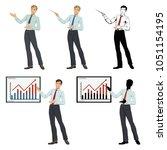 guy businessman pointing.set of ... | Shutterstock .eps vector #1051154195