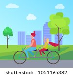 redhead mother and her young... | Shutterstock .eps vector #1051165382