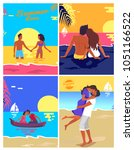 romantic young couple in love... | Shutterstock .eps vector #1051166522