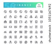set of 56 finance line icons... | Shutterstock .eps vector #1051167692