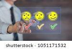 man touching an evaluation... | Shutterstock . vector #1051171532