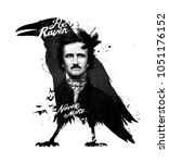 edgar allan poe  drawing on... | Shutterstock . vector #1051176152
