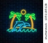 glowing neon summer sign with... | Shutterstock .eps vector #1051185128