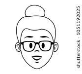 young woman face cartoon | Shutterstock .eps vector #1051192025