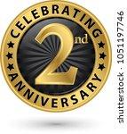 celebrating 2nd anniversary... | Shutterstock .eps vector #1051197746