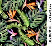 seamless exotic pattern with... | Shutterstock . vector #1051205132