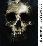 scary grunge skull isolated on... | Shutterstock . vector #1051208876