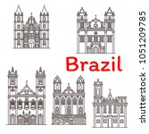 brazil architecture landmarks... | Shutterstock .eps vector #1051209785