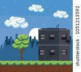 pixelated urban videogame...   Shutterstock .eps vector #1051213592