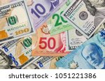 canadian and american dollar as ... | Shutterstock . vector #1051221386