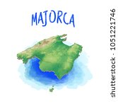 3d map of majorca   balearic... | Shutterstock .eps vector #1051221746