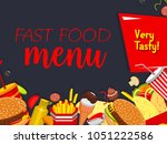 fast food poster for fastfood... | Shutterstock .eps vector #1051222586