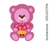 a pink teddy bear toy is... | Shutterstock .eps vector #1051227296