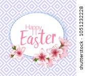 happy easter vector card.... | Shutterstock .eps vector #1051232228