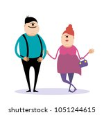 young happy couple. vector... | Shutterstock .eps vector #1051244615