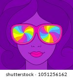 psychedelic style portrait of... | Shutterstock .eps vector #1051256162