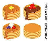 set of pancakes with different... | Shutterstock .eps vector #1051256168