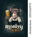 monkey dressed in apron holding ... | Shutterstock .eps vector #1051262975
