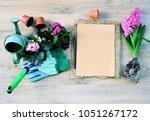 garden tools and flowers  the...   Shutterstock . vector #1051267172