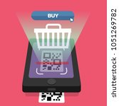 shopping online scanning qr... | Shutterstock .eps vector #1051269782