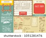fast food   pizza  coffee ... | Shutterstock .eps vector #1051281476