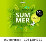 summer sale banner with paper... | Shutterstock .eps vector #1051284332