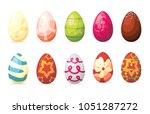 easter eggs with different... | Shutterstock .eps vector #1051287272