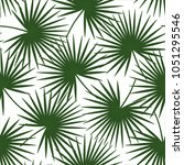 green palm leaves on a white... | Shutterstock .eps vector #1051295546