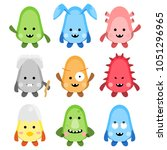 set of funny monsters vector   Shutterstock .eps vector #1051296965