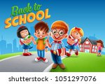 kids cartoon illustration with... | Shutterstock .eps vector #1051297076