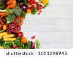 vegetable and fruits on white...   Shutterstock . vector #1051298945