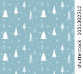 winter forest and snowflakes... | Shutterstock .eps vector #1051302512