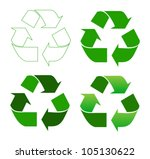 Set Of Recycle Sign On White