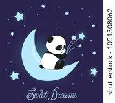cute little panda bear on the...   Shutterstock .eps vector #1051308062
