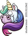 cartoon unicorn with rainbow... | Shutterstock .eps vector #1051311362