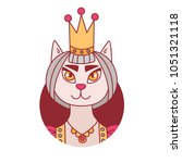 cute cat princess in crown... | Shutterstock .eps vector #1051321118