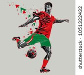 soccer player with a graphic... | Shutterstock .eps vector #1051322432