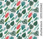vector hand drawn tropical... | Shutterstock .eps vector #1051332662
