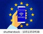 wifi4eu   free wi fi hotspots... | Shutterstock .eps vector #1051353938