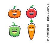 set of cute smiley vegetables.... | Shutterstock .eps vector #1051360976