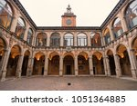 The Archiginnasio atrium. It houses now the Municipal Library and the famous Anatomical Theatre. Bologna, Italy.