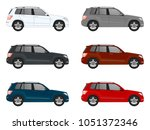 set of different color car ... | Shutterstock .eps vector #1051372346