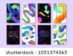 vector set of realistic... | Shutterstock .eps vector #1051374365
