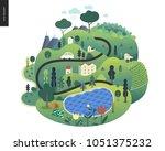 magical summer landcape   green ... | Shutterstock .eps vector #1051375232