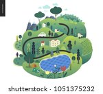 magical summer landscape  ... | Shutterstock .eps vector #1051375232