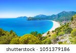 sunny summer weather with clear ... | Shutterstock . vector #1051379186